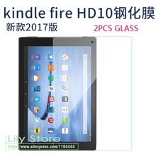 2 X GLASS Tempered Glass For Amazon Fire HD 10 (2017) HD10 2017 Tablet Screen Protector Film 9H Full Screen Protective film(China)