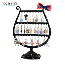 Black Bronze Earring Holder Stand Display Cup Bow Metal Jewelry Display Case Rack Holder Jewelry Rack Cup display(China)