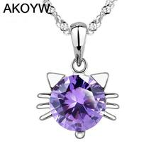 Silver Colour pendant wild cat elves Purple crystal jewelry lady lovely high quality fashion jewelry manufacturers, wholesale