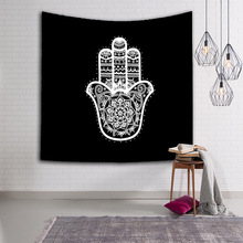 Classical Black White Hamsa Hand Tapestry Indian Mandala Wall Hanging Tapestry Multi-function Carpet Mat Beach Towel Bedspread(China)