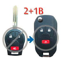 Flip Folding Remote Key Shell Case For Nissan Maxima Sentra Versa 2+1 Button Panic(China)
