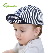 Baby Baseball Caps Summer Cotton Infant Hats Cute Casual Striped Soft Eaves Digital 25 Cap Baby Boy Beret Baby Girls Sun Hat(China)