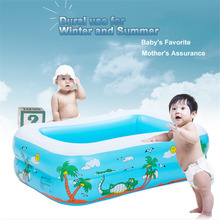 Multi-layer Baby Children Beach Pattern Printing Inflatable Square Swimming Pool Baby Playing Pool Bubble Bottom Inflatable(China)