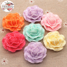 5pcs 32mm Mixed Color flower big size resin flatback cabochon DIY jewelry/phone decoration(China)