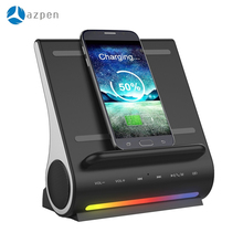 AZPEN D100 Docking Station HIFI Bluetooth Speaker LED Wireless Charging Subwoofer With Multiple USB Ports For Andriod Charger(China)