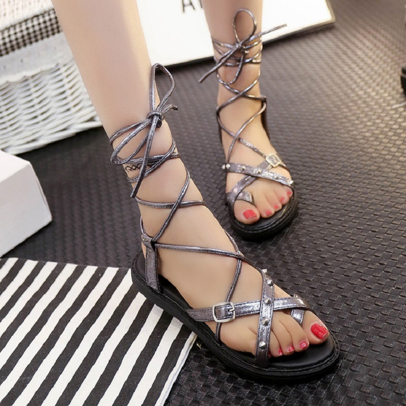 European Style 2016 Cross-Strap Rivets Women Gladiator Sandals Rome Fashion Women Casual Flat Sandals G110 35<br><br>Aliexpress