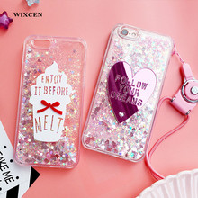 Wixcen Luxury pink Heart Glitter Liquid Phone Case for IPhone X 8 7 7plus 6 6s 6plus 5s Bling Ice Cream Tpu Back Cover lanyard(China)