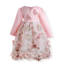 2017autumn Girls Elegant butterfly Dress Baby Embroidery pink Princess Dresses Children Party Wedding Gown Carnival girls cloth
