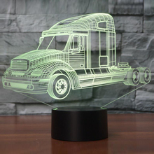 3D Truck Modeling LED Table Lamp USB Car Shape Nightlight 7 Colors Kids Room Decor Sleep Light Fixture As Christmas Novelty Gift(China)