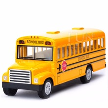 Alloy Emulational Car Model Toys, Classic School Bus, Brinquedos Miniature Pull Back Cars,Doors Openable For Baby Gifts