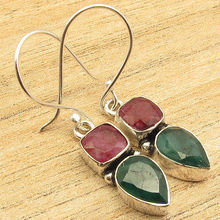 2 STONE Earrings ! Natural RUBI & Emeralds EXTRA ORDINARY Silver Plated Jewelry