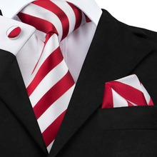 2017 Hot Selling  White Red Striped Tie+Hanky+Cufflinks Set Men's 100% Silk Ties for Formal Wedding Business Party SN-242