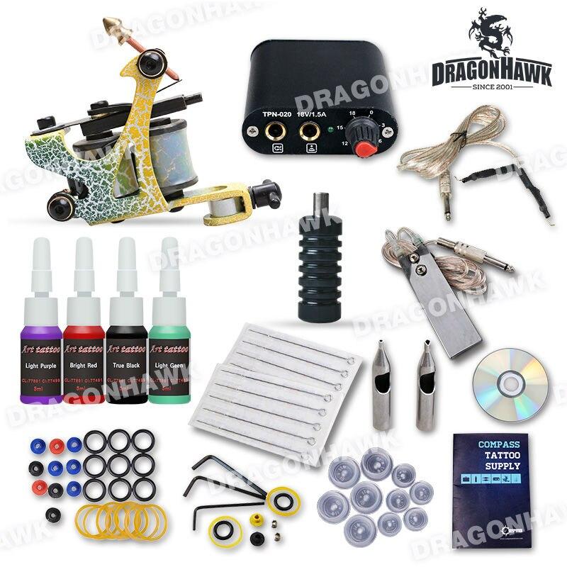 Hot Sales Starter Tattoo Kit 1 Machine Guns 4 Inks Power Supply Needles<br>