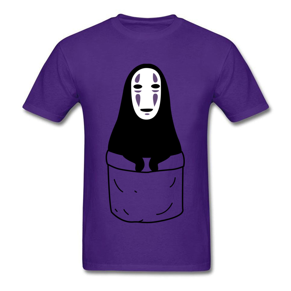 Mens Tops Shirts Kaonashi in a pocket Newest Printed On T-shirts 100% Cotton Short Sleeve Funny Sweatshirts Round Neck Kaonashi in a pocket purple