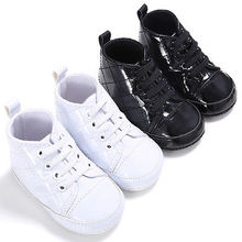 Black and White Shoes Infant Baby Boy Girl Toddler Leather Shoes Prewalker Moccasin  Non-Slip Sandals