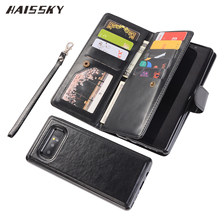 HAISSKY Magnetic Flip Cover For Samsung Galaxy Note 8 Case Wallet 9 Cards Note8 Leather Luxury Suction Removable Phone Shell(China)