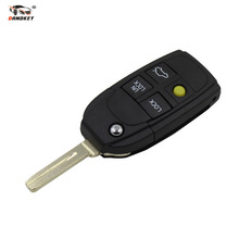 DANDKEY Uncut 4 Buttons Remote Case Replacement Flip Folding Key Shell Blank Yellow Button For  VOLVO Free Shipping