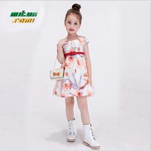 baby girl dress 2016 printing flowers princess dress fashion high-grade belt kids dressesel egant cute childrens clothes  cjj