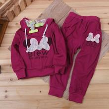 Retail 1set 2colors kids sport wear Baby Clothing Set girls sport suit Fashion two-piece Baby Garment Butterfly Sets DS16