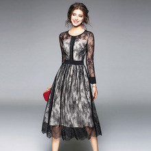 Buy 2018 femme Spring black Floral lace Sexy long dress women Mesh Hollow Elegant dresses evening party Club dress vestidos for $25.66 in AliExpress store