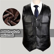 High quality Men's PU Leather vest Clothing Motorcycle Vest w/14 Patches Halley Punk Vest Sleeveless Jacket New(China)
