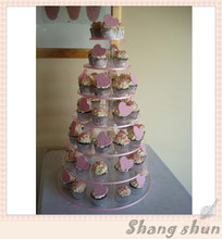 Free Shipping Product Details 7 Tier Maypole Wedding Acrylic Cupcake Stand Tree Tower Cup Cake Display(China)