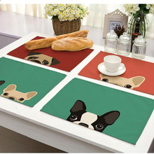 Cute Animals Table Placemat Linen Cotton Blend Fun Home Decorations Plate Cover Western Pad Washable Tableware Mats