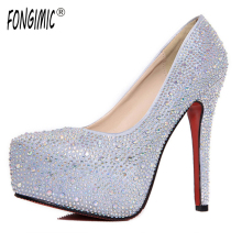 High quality summer new sexy fashion hot women shoes diamond high heels waterproof stiletto cross tied bride wedding pumps shoes(China)