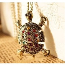 2015 New Fashion Turtle Pendant Necklace Wholesale Vintage Cute Sweater Tortoise Necklaces Jewelry For Women LS 53