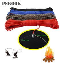 PSKOOK New Paracord 550 Make Fire Cord Parachute Lanyard Rope Fire Starter Personal Survival Paracord 50FT 100FT(China)