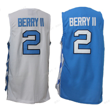 New #2 BERRY II North Carolina University Basketball Jerseys White Blue ncaa Classical All Round Player Summer Breathable Jersey