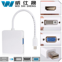 3 In 1 Mini displayport DP Thunderbolt to DVI VGA HDMI Converter Adapter cable for iMac Mac Mini Pro Air Book(China)