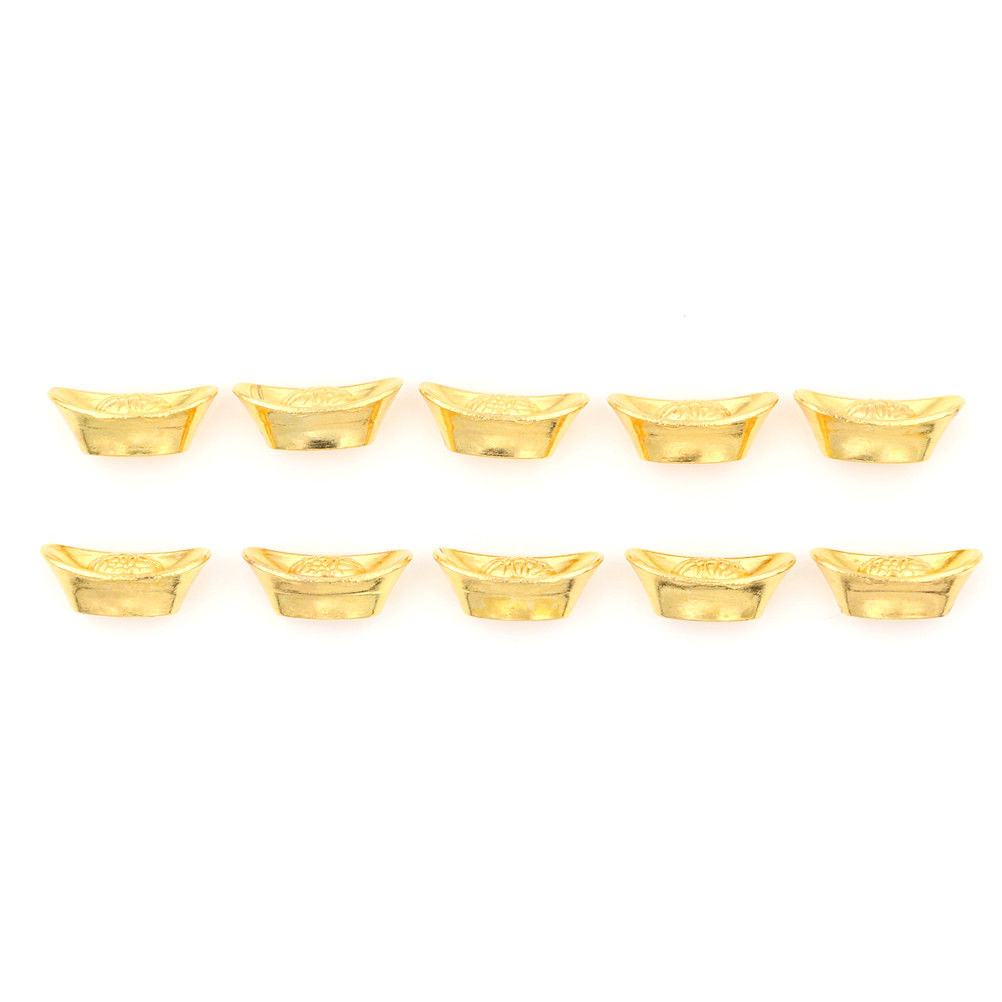 10pcs Chinese Gold Ingot Fengshui Lucky Yuanbao Ornament Decor For FortuneWealth