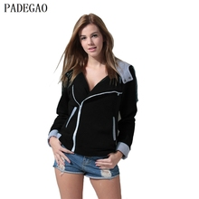 PADEGAO black hooded women jacket plus cashmere cardigan side zipper up patchwork casual coat autumn winter tops cotton overcoat(China)