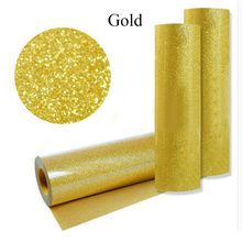 Gold PU Heat Transfer Vinyl Iron-on Fabric T-shirt Press Cutter Film- 50cm 80cm(China)