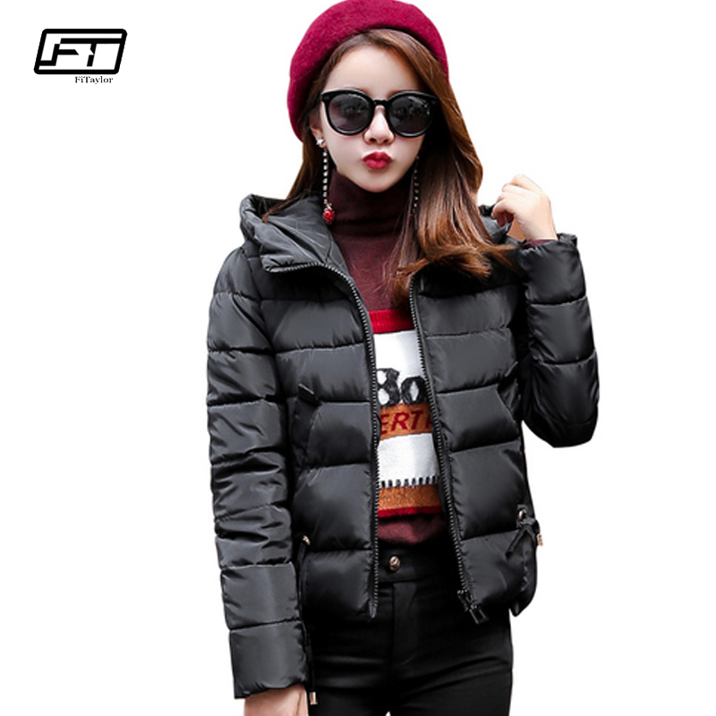 Fitaylor 2017 Winter Hooded Down Cotton Jacket Women Coat Fashion Slim Short Outwear Solid Comfortable Inverno Female CoatsÎäåæäà è àêñåññóàðû<br><br>