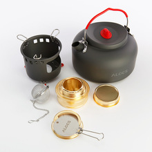 ALOCS Outdoor Alcohol Stove And Coffe Kettle Set Cooking Portable Alcohol Furnace Gas Mini Stoves Camping Water Tea Cookware(China)