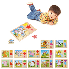 Wooden Chinese Zodiac Design 3D Puzzle Jigsaw Cute Cartoon Animal Tangram Puzzle Kids Educational Learning Jigsaw Toy(China)