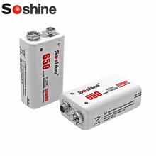 Soshine 6F22 2Pcs 9V 650mAh Li-ion Lithium Power Battery Chemistry Rechargeable Battery For Electronic Instruments(China)