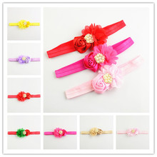 10pcs/lot Comfortable Elastic girl Headbands 7cm 18Color Rose And Flower With Pearl Luxury Headwear For New girl Beauty  FDA107