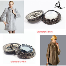 1 pcs,38-39mm mix fashion metal acrylic Fur buttons, Mink coat buttons. Rhinestone buttons. big with a diamond buckle.accessory