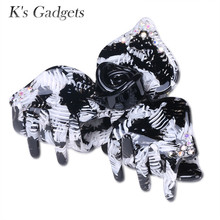 K's Gadgets Large Crab Rhinestone Hair Accessories Acrylic Hairpin Refinement Head Piece New Fashion Acetate Hair Claw Jewelry