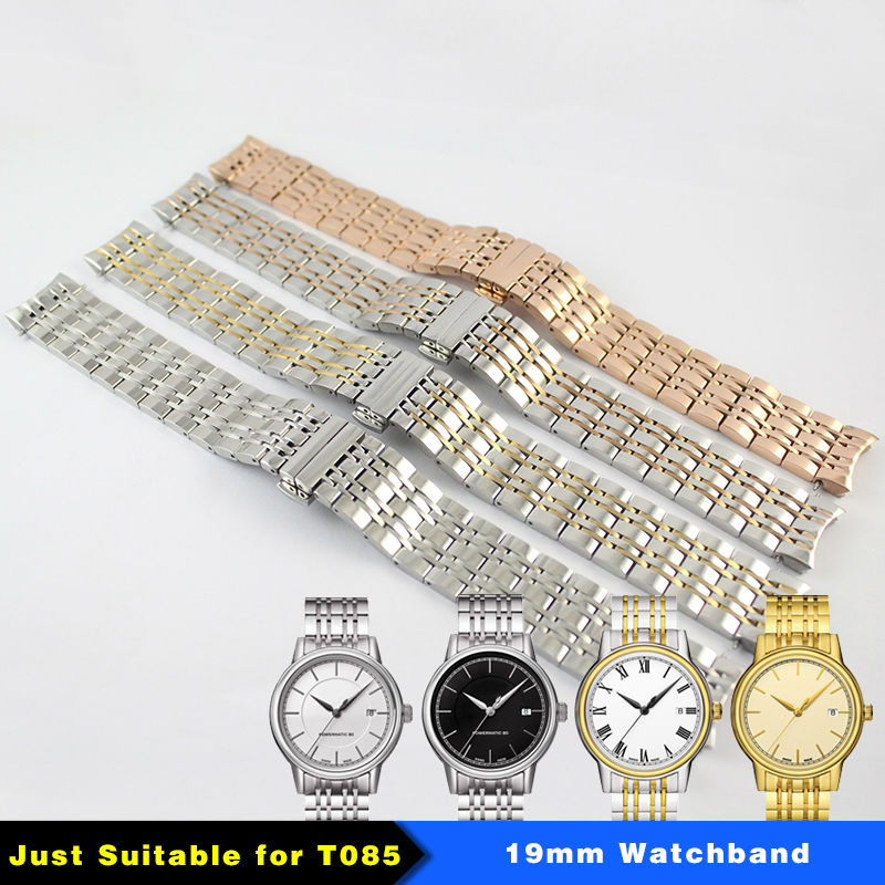 Watch band Width 19mm Men Solid Stainless steel Butterfly Buckle Watchband T085410A T085407A For T085 watches accessories<br>