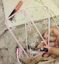New Luxury Diamond Bling Rhinestone Flower Back Case Cover For Apple iPhone 5G 5S SE 6 6S 7 Plus Pink Phone Case For iPhone 7