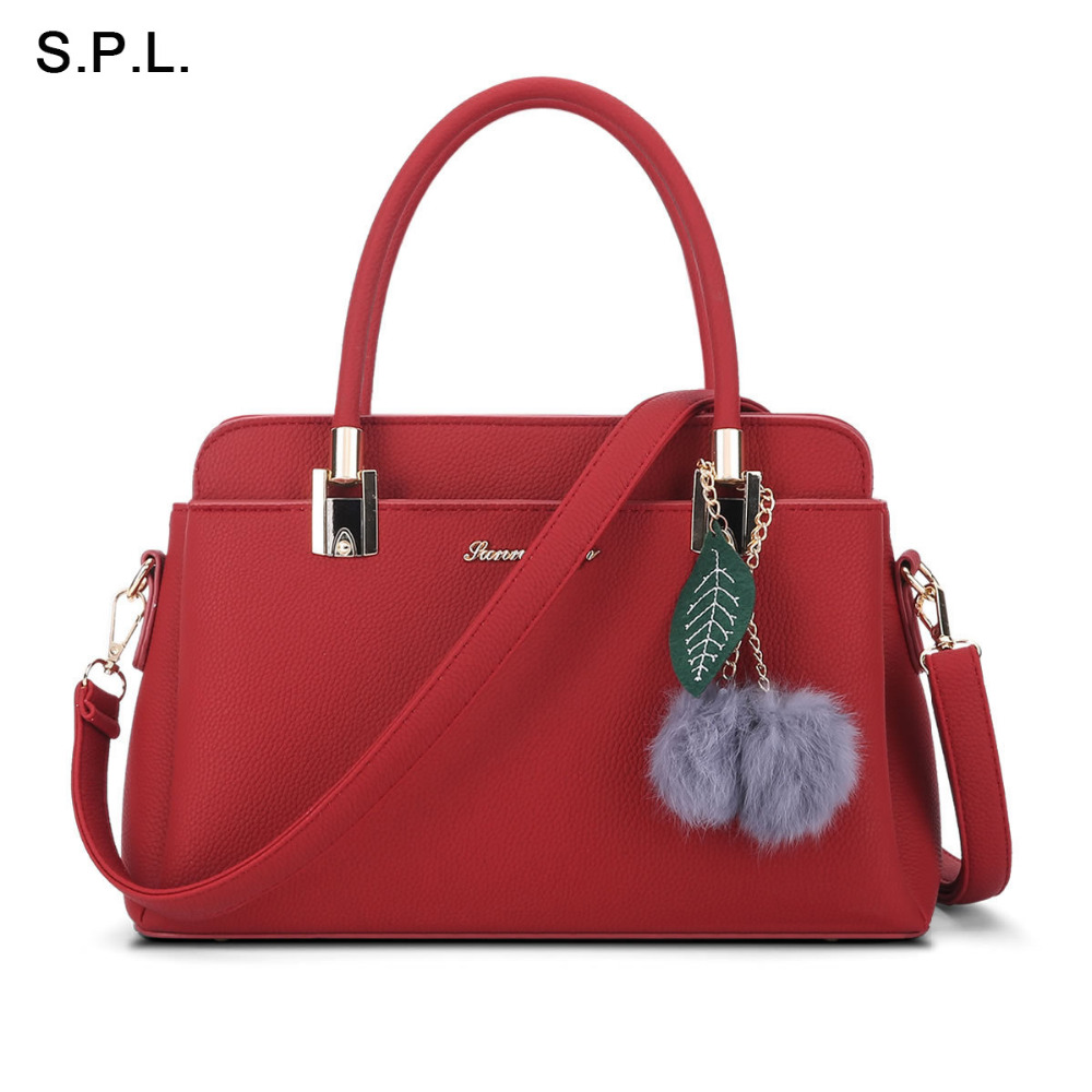 S.P.L. Brand New Arrival Women Bags With Fur Ball Tassel Leather Shoulder Bag Handbag Ladies Hot Sale Tote Messenger Bag<br>