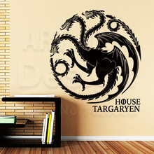 Good quality art design cheap vinyl home decoration House Targaryen badge wall sticker removable house decor dragon room decals