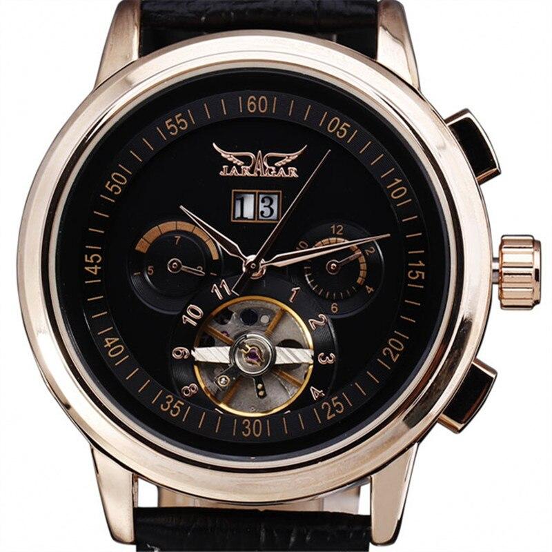 2016 New Fashion Tourbillon Watches Mens Gold Mechanical Watch Classic Automatic Calendar Leather Mens Dress Wristwatch Gift<br>