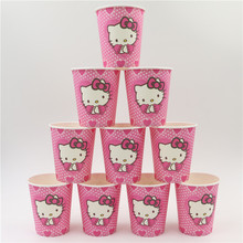 1bag 100pcs Hello Kitty paper cup Boys and Girls Baby Happy Birthday Party Decoration Kids Supplies Favors  Paper Cup Drink