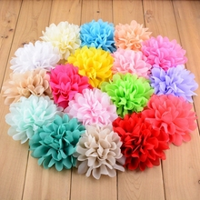 20pcs/lot 30color Alternative Big Chiffon Hair Flower 10cm Headband Flowers No Clips Flat Back Fake Flowers For Hair Accessories