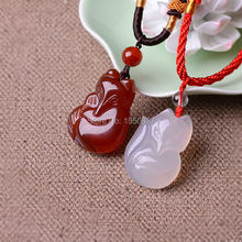 100% Real Agate Jade Pendants hand-carved Fox Lucky Amulet Green Jade Pendant Necklace Fine Jade Jewelry Dropshipping